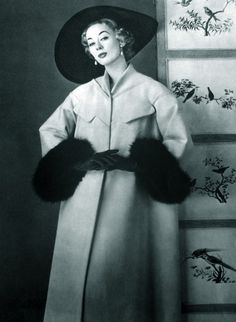 Coat fashion by Jeanne Paquin forLa Femme Chic,1956.