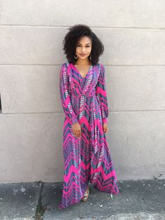 95%+Poly/5%+Spandex Small+fits+up+to+5/6 Medium+7/8-9/10 Large+11/12-14/16 XL+14/16-18/20 Fashion Lookbook, Ankara, African Fashion, Wrap Dress, Spandex, Medium, My Style, Sleeves, Pink