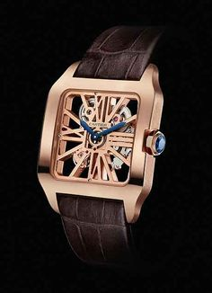 Cartier Santos-Dumont Skeleton Watch in18K Rose Gold case (introduced in 2012). $47,600.00. #watch #luxury