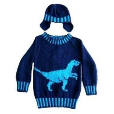 "Perfect for those ""Dinosaur Mad"" youngsters. Knitted in Aran Yarn so grows very quickly. Large, coloured intarsia chart to follow for the Velociraptor. The rib is 2 x 2 rib with a change of colour every 2 stitches across the row. A customer, who recently knitted this design, said that their grandson wont' take this jumper off and is now knitting the Triceratops Pattern so at least he has a change of outfit. The Triceratops Dinosaur pattern can also be purchased from LoveKnitting."