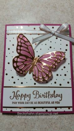 Birthday Love Wishes Pretty Cards 25 Ideas Birthday Cards For Women, Handmade Birthday Cards, Happy Birthday Cards, Greeting Cards Handmade, Tarjetas Stampin Up, Karten Diy, Bday Cards, Butterfly Cards, Butterfly Birthday Cards