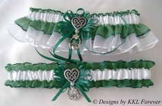 Irish Wedding Garters Celtic Love Knot Heart Charm Hunter Green and White Garter Set. $48.00, via Etsy.