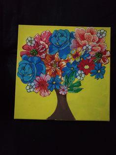 Quadro com colagem de flores de chita