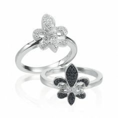 Pave diamond fleur de lis rings from Aucoin Hart.