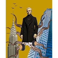 Instagram photo by allthingssuzette - Feeling the Beat. Lucky Series 2/5. #collage #cut #art #tomford #adcampaign #f/w15 #luckybluesmith #chryslerbuilding #nyc #headphones #beat #twointernationalfinancecentre #hongkong #tentacles #birds #new #heights #male #model #breakingbarriers @allthingssuzette