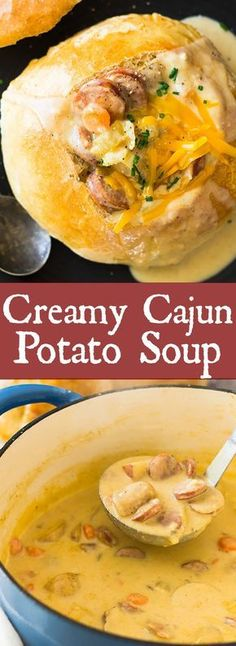 This Creamy Cajun Potato Soup is comfort food kicked up a notch. It's full of fl… This Creamy Cajun Potato. Louisiana Recipes, Cajun Recipes, Southern Recipes, Soup Recipes, Chicken Recipes, Cooking Recipes, Cajun And Creole Recipes, Cooking Ideas, Dinner Recipes