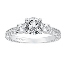 e6c6d7c65 Vintage Diamond Three Stone Hand Engraved and Milgrain Engagement Ring - 31 -V688ERW-E
