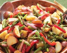 Asparagus, Red Pepper, and Potato Salad Recipe from Chef and owner of Dinosaur Bar-B-Que John Stage - no mayo!