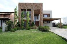 casa fachada moderna pedras