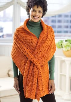 Wrap with Slits in Red Heart Super Saver Economy Solids - WR1811 | Crochet Patterns | LoveCrochet