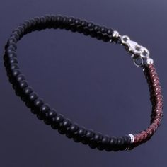 Natural Garnet and Matte Black Onyx Anklet with S925 Sterling Silver Clasp