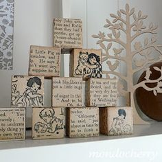 The Pretty Kitty Studio : 25 Great Upcycle Ideas for Vintage Children's Books -- kids book crafts decorated wooden blocks and homemade envelopes Old Book Crafts, Book Page Crafts, Book Page Art, Old Book Pages, Book Art, Fur Vintage, Vintage Children's Books, Vintage Crafts, Upcycled Vintage