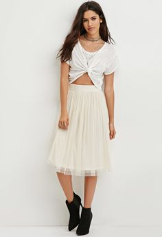 Shirred Mesh Overlay Skirt