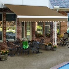 Awntech Houstonian Standard Window Awning | Wayfair Window Awnings, Patio Awnings, Retractable Awning Patio, Patio Windows, Metal Awning, Retractable Canopy, Patio Roof, Concrete Wood, Outdoor Living