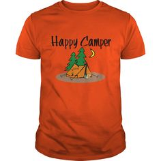 Cute and funny camping shirt features a happy camper in a tent T shirt and hoodie available in several colors for men and women