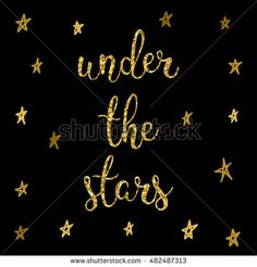 Stars card template. Golden glitter texture. Hand drawn under the star letters isolated on black cover for card, invitation, banner, book, placard, album, sketch book.