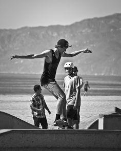 Street Series - Venice Street Skater, Skateboarding Photography Print limited edition black and white fine art print - from on Etsy. Street Skater, Skate Park, Venice, Printer, Fine Art Prints, Sky, Urban, Black And White, Skateboarding