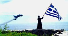 Whenever monk Joseph of Mount Athos hears the sound of an aircraft, he stands close to the edge of a cliff above the Aegean and waves a huge Greek flag. Greek Flag, Go Greek, Hellenic Air Force, Russian Orthodox, Sky Sea, F 16, The Monks, Macedonia, Religion