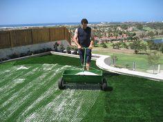 Installation of high quality artificial turf in garden in Maspalomas, Gran Canaria.