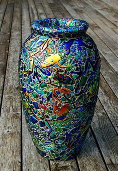 Laurel Yourkowski Studio, Vase in tall Glass Ceramic, Ceramic Art, Dichroic Glass, Fused Glass, Vase Deco, Mosaic Vase, Mosaic Madness, Glass Artwork, Mosaic Projects