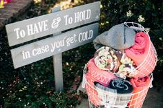 Love this idea, providing blankets for guests in case it gets cold