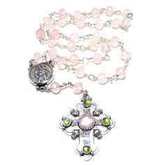 Sterling rosary with rosé quartz stones and green peridot. #silverrosary #rosary