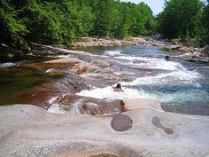 The Pemigewasset River has some great swimming holes scattered along it, but this one near the falls is particularly great. In Woodstock the…