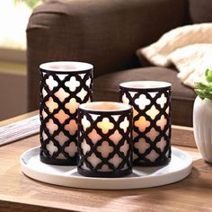 Better Homes and Gardens Trellis Flameless LED Pillar Candles, Set of 3 Candleholders, Pillar Candle Holders, Candle Set, Flameless Candles, Pillar Candles, Warm Home Decor, Diy Home Decor, Biscuit Mix, Lotus Lamp