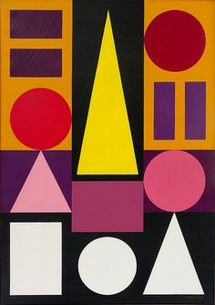 Auguste Herbin (1882-1960). His studio was situated directly next to Braque's and Picasso's, which resulted in 1st Cubist paintings in 1913. In 1917 he moved on to an abstract, geometric phase before gradually discovering Constructivism. From 1938 his interest in the Italian Trecento led Herbin to a more concrete, strictly two-dimensional painting style with simple geometric forms.