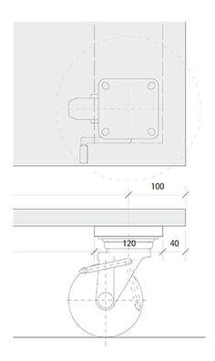 C-table 天板にキャスターをつけたシンプルなコーヒーテーブル 図面