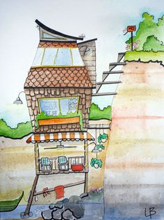 Beach Cabin Watercolor Painting Ink Illustration, 11x14, Random Dwelling 34, Seaside House, Lake House, Summer Cabin, Vacation Home