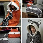 Adorable fox and wolf hooded blanket pattern by MJs Off the Hook! Blanket is crocheted with bulky yarn and basic stitches, so its great for beginners! - Ideas In Crafting Crochet Afghans, Basic Crochet Stitches, Crochet Basics, Crochet Blanket Patterns, Crochet Blankets, Crochet Owl Blanket, Crochet Shawl, Quilt Patterns, Cute Crochet