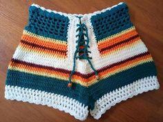 Crochet Bikini Diy Dress Pants Ideas For 2019 Shorts Tejidos A Crochet, Crochet Shorts Pattern, Crochet Pants, Black Crochet Dress, Diy Crochet, Crochet Clothes, Crochet Baby, Crochet Top, Crotchet