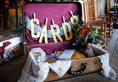 Vintage suitcase as cardbox.