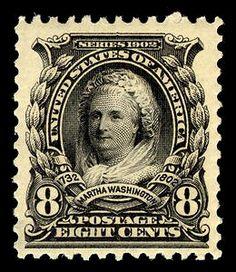 First woman on a US postage stamp, 1902, Martha Washington.