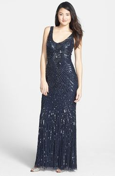 Aidan Mattox Sequin V-Back Mesh Gown (Online Only) available at #Nordstrom
