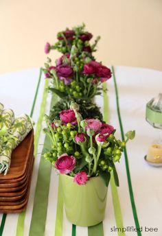 diy green ribbon table-runner on white tablecloth #diy