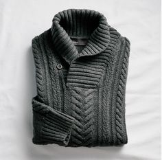 Wear your shawl collar sweater solo or dress it up with a shirt and tie underneath.