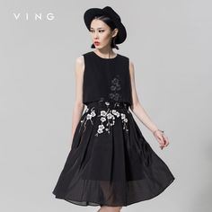 Ving 2015 Women New Arrival Embroidered Chiffon One-piece Dress Sleeveless  A-line Female Dress