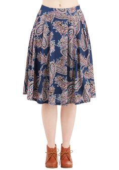 What Can I Sway? Skirt in Blue. Youre sure to render your sweetie speechless when you meet up for date night in this paisley skirt from Pink Martini! #blue #modcloth
