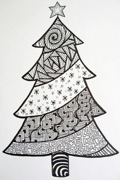 Xmas tree drawing cool tree drawings cool trees to draw tree doodle ac trees drawing easy . Christmas Tree Zentangle, Christmas Doodles, Christmas Drawing, Christmas Coloring Pages, Christmas Colors, Christmas Art, Christmas Themes, Doodles Zentangles, Zentangle Patterns