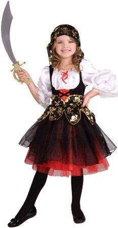 Disfraz de Pirata 2 piezas para niñas - Disfraz de pirata para niña - Negro, blanco, rojo - Talla L (8-10 años)
