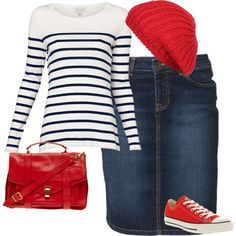 A fashion look from July 2013 featuring cotton shirts, blue skirt and converse sneakers. Browse and shop related looks.