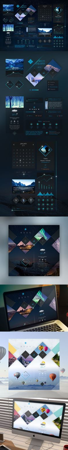 Neon Square UI Kit by Tintin s., via Behance: