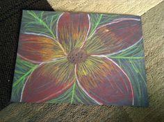 Oil pastel flower drawing