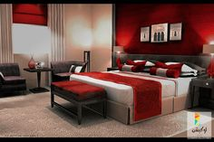 غرف نوم أحمر وأسود