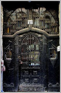 Jugenstil. Peacock door, Terzvaros, Budapest - Hungary