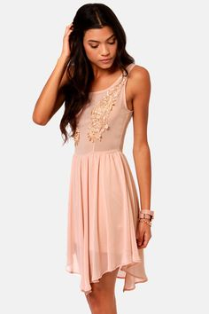 Pretty Blush Pink Dress - Lace Dress - Tank Dress - $47.50
