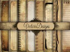 Grunge Notebook Digital Paper 8.5 x 11 inch paper pack digital paper printable digital collage sheet VD0439