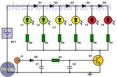 6 LED VU meter using one transistor This simple VU meter allows us to visualize the level of an audio signal. It is a cheap circuit and easy to build. Electronics Components, Diy Electronics, Electronics Projects, Led Projects, Electrical Projects, Electronic Circuit Projects, Electronic Engineering, First Transistor, Battery Charger Circuit